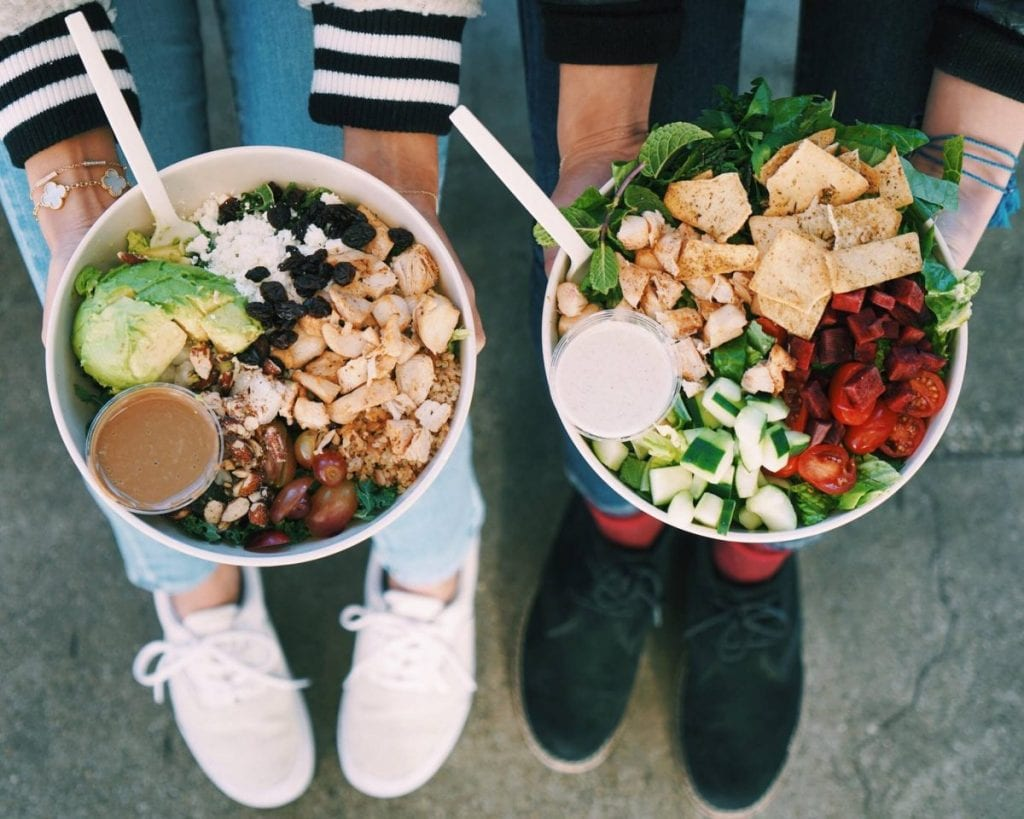 Healthy bowls of food