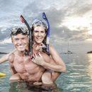 Happy couple in the ocean