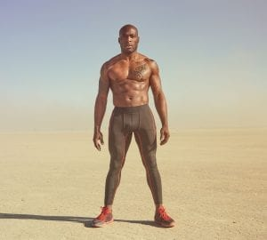 Fit man wearing compression gear