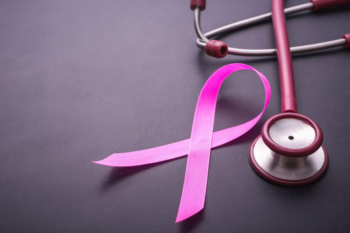 breast cancer ribbon and stethoscope