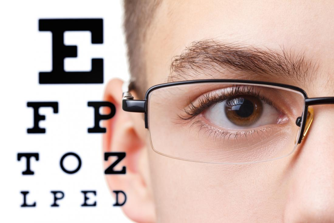 boy wearing glasses in front of an eye chart
