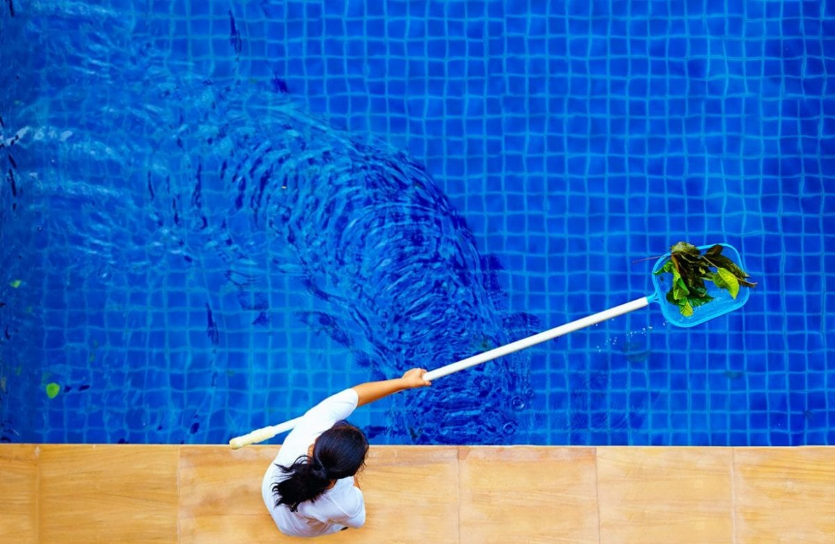 person cleaning debris out of a pool