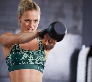 woman doing a kettlebell workout