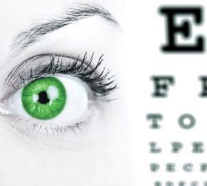 green eye next to an eye exam chart