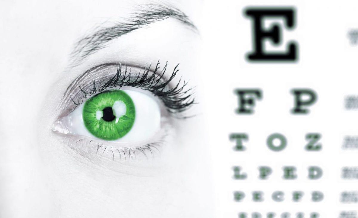 green eye next to an eye exam chart