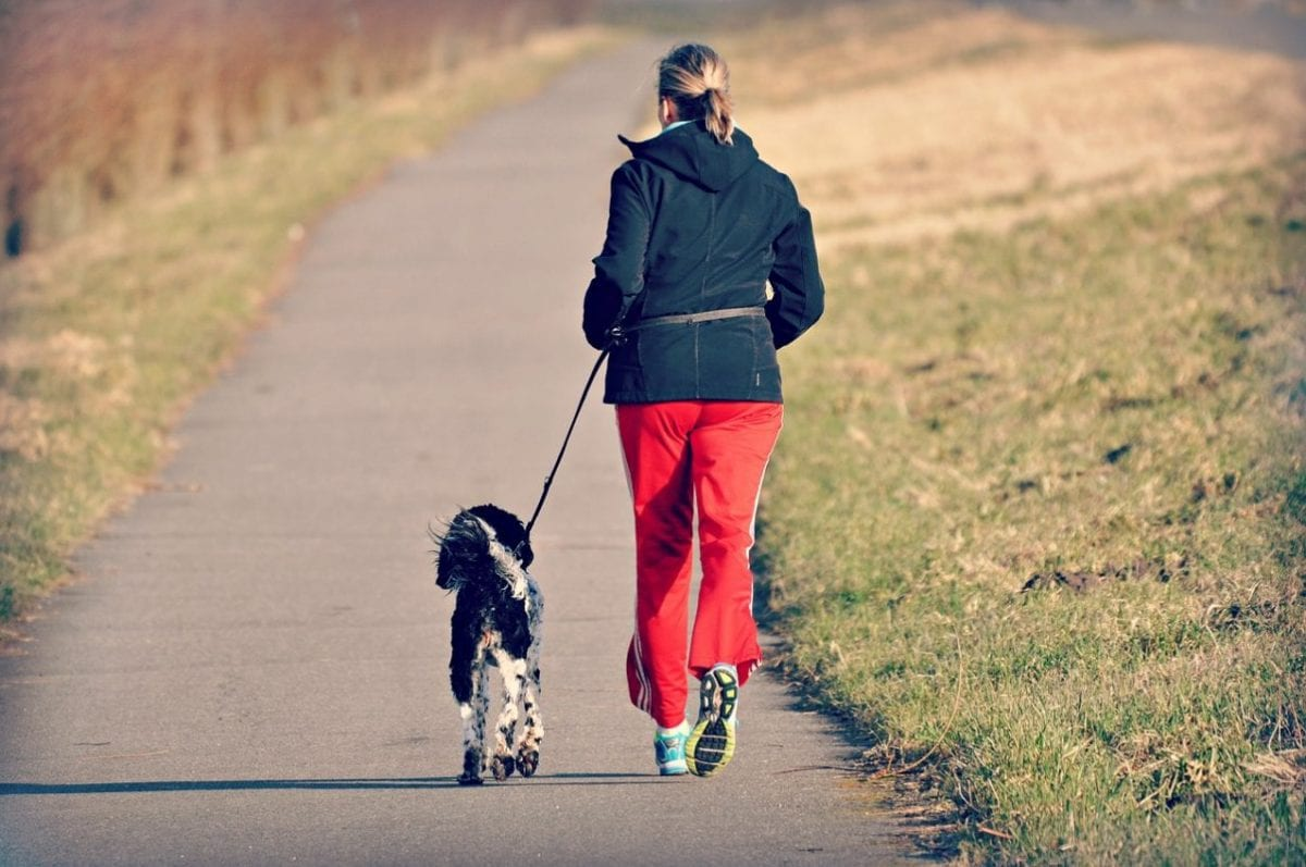 woman running on an outdoor trail with her dog.