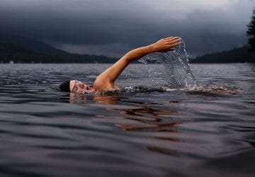 person swimming in a lake.