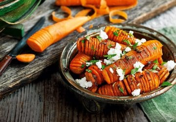 a healthy carrot recipe with herbs and feta cheese