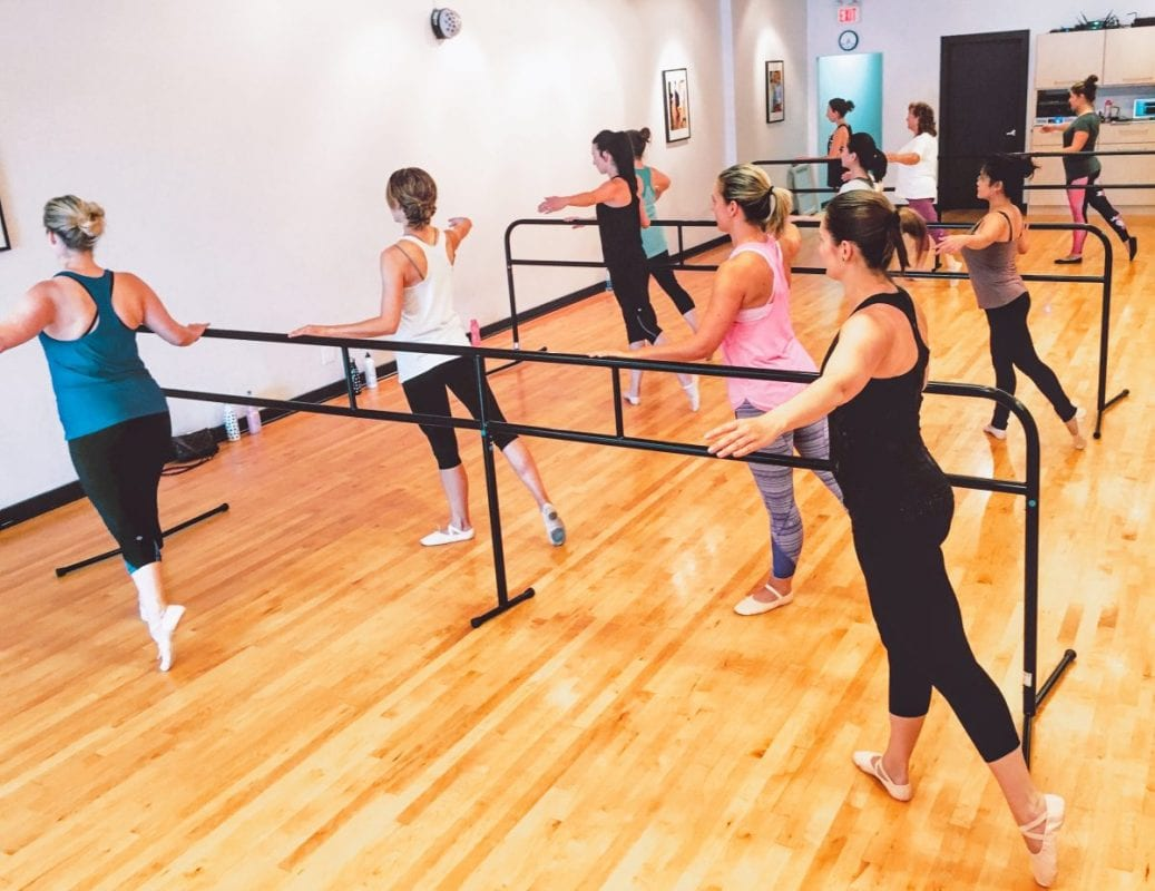 group of women dancing next to a barre