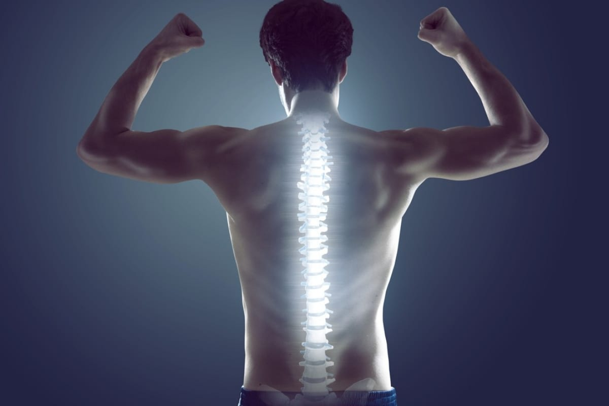 man flexing his muscles showing his spine