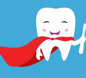 cartoon of a tooth holding a toothbrush