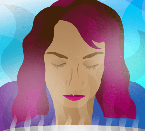 illustration of a woman giving herself a steam facial