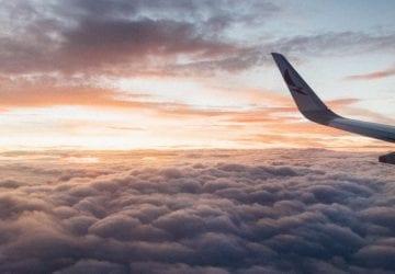 plane at sunset/sunrise