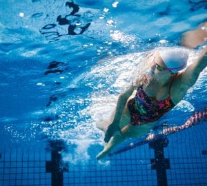 underwater shot of female swimmer