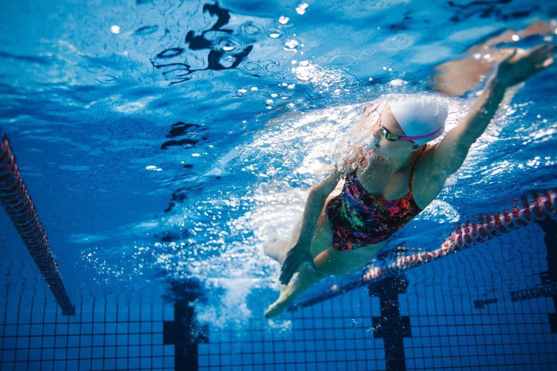 underwater shot of female swimmer