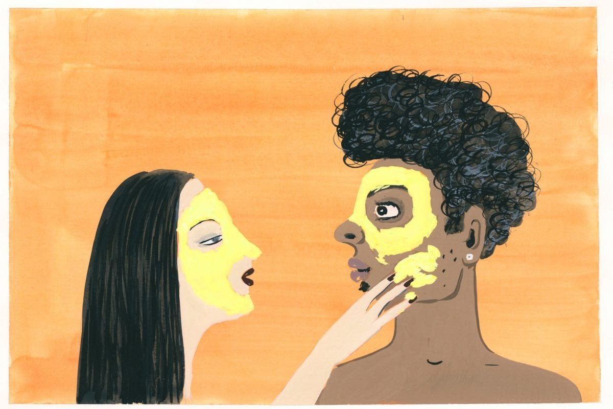 illustration of a couple doing a face mask