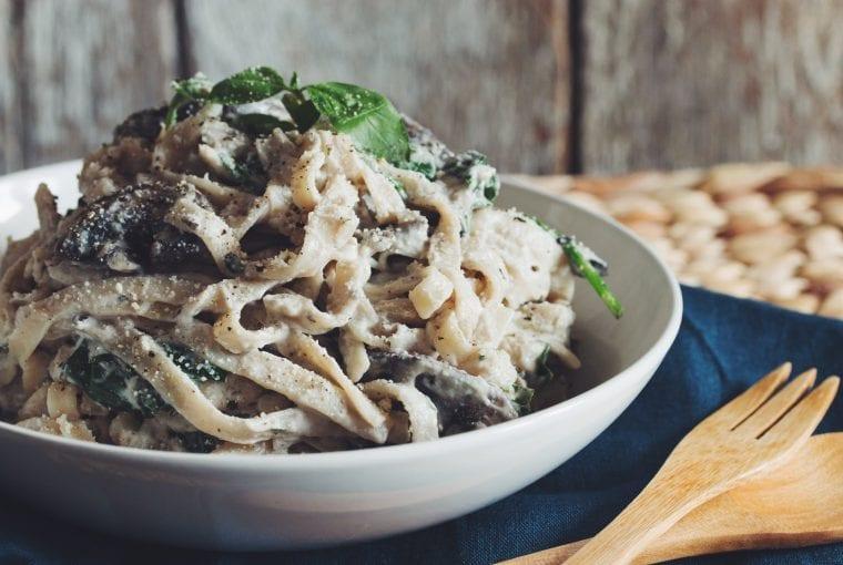 a bowl of vegan pasta
