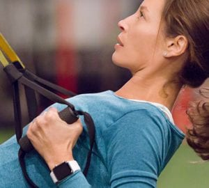 woman working out with fitness watch