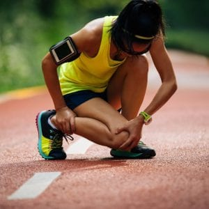 woman athlete with an injury