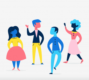 animation of a group of people