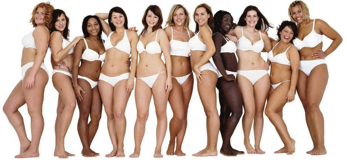 different women standing in a line