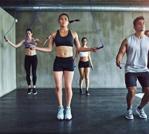 people doing a workout at the gym