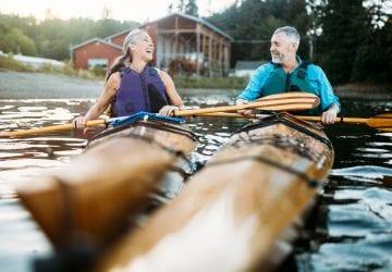 a senior couple kayaking