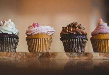 a row of vegan cupcakes