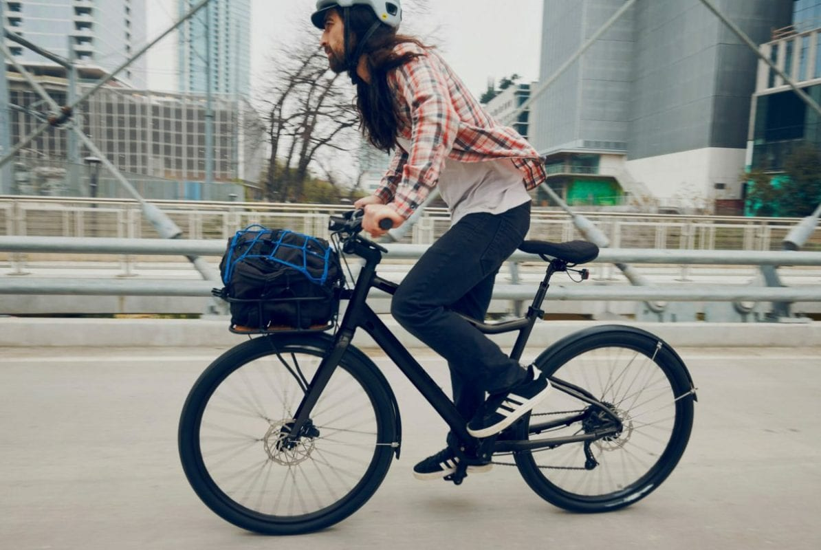 a person riding a bicycle