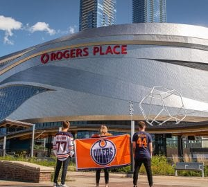 Edmonton OIler fans in front of Rogers Place