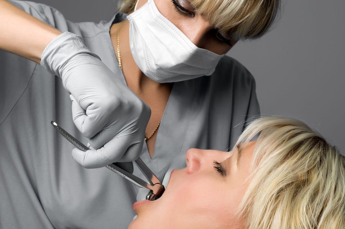 a woman getting dental work