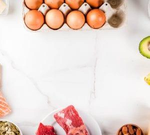 an assortment of high protein foods