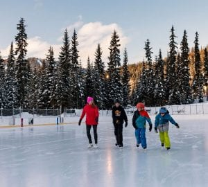 people skating in an outdoor rink