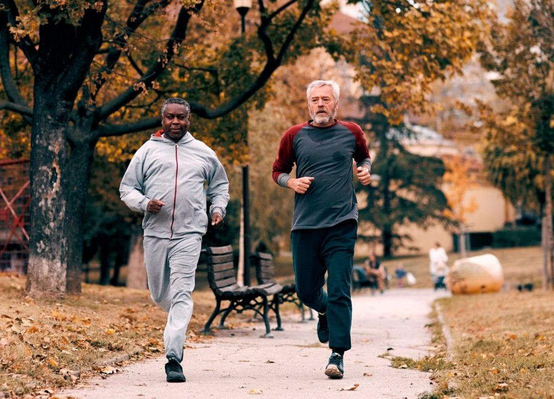 a pair of men going for a run