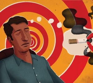 illustration of a man being hypnotizes to quit smoking