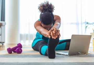 a woman working out at home