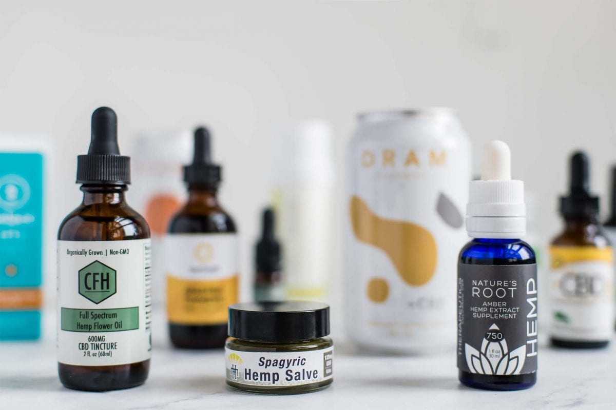 assortment of CBD products