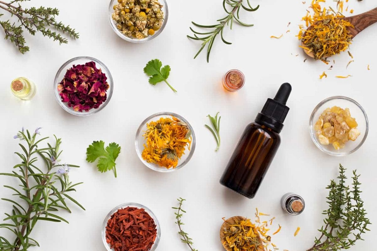 a selection of natural herbs