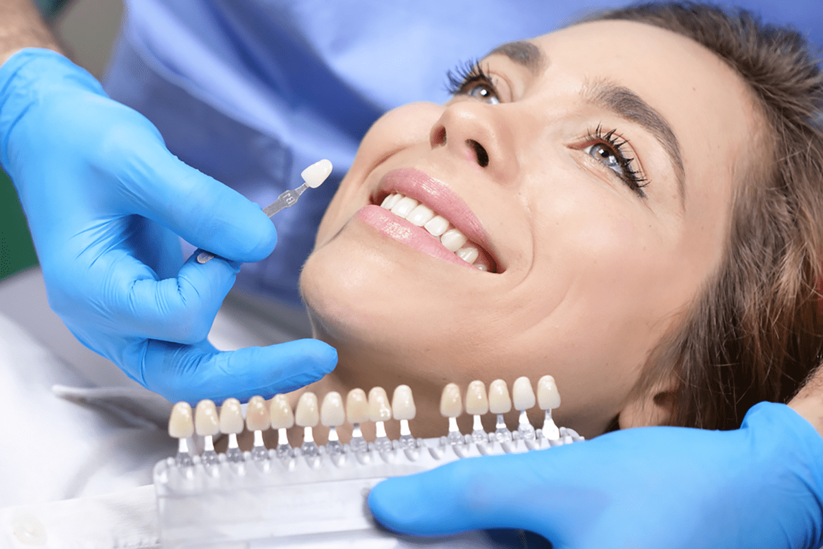 a woman getting her teeth whitened