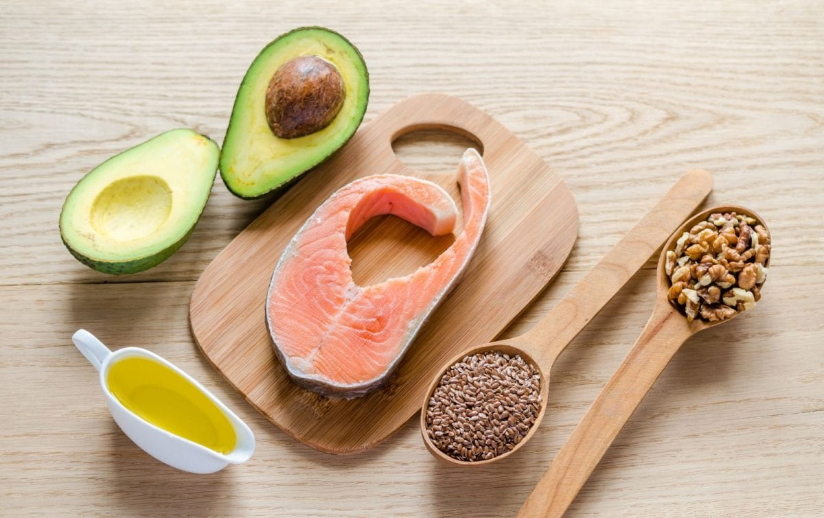a plate of healthy fats