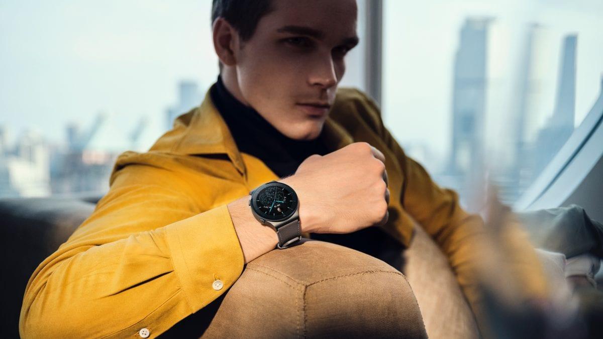 a man relaxing wearing a huawei watch