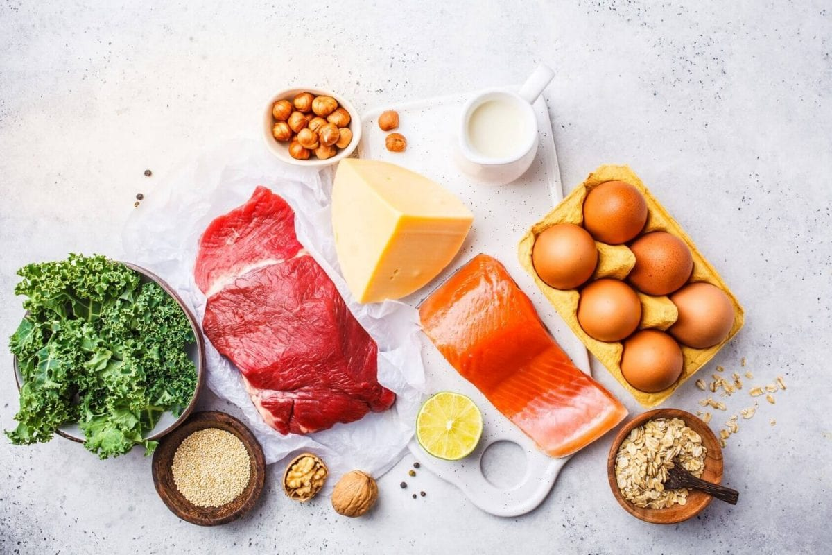 an assortment of protein rich foods