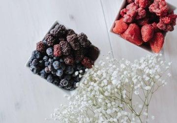 an assortment of frozen fruit