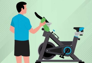 illustration os a man cleaning gym equipment