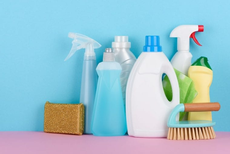 a group of cleaning supplies