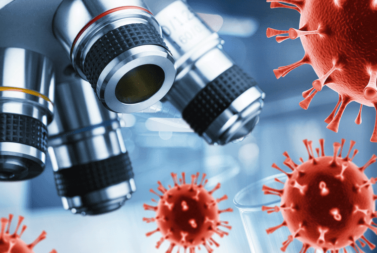 a microscope and the covid virus