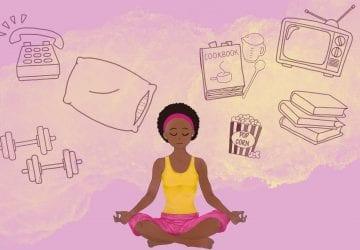 a illustration of a woman meditating
